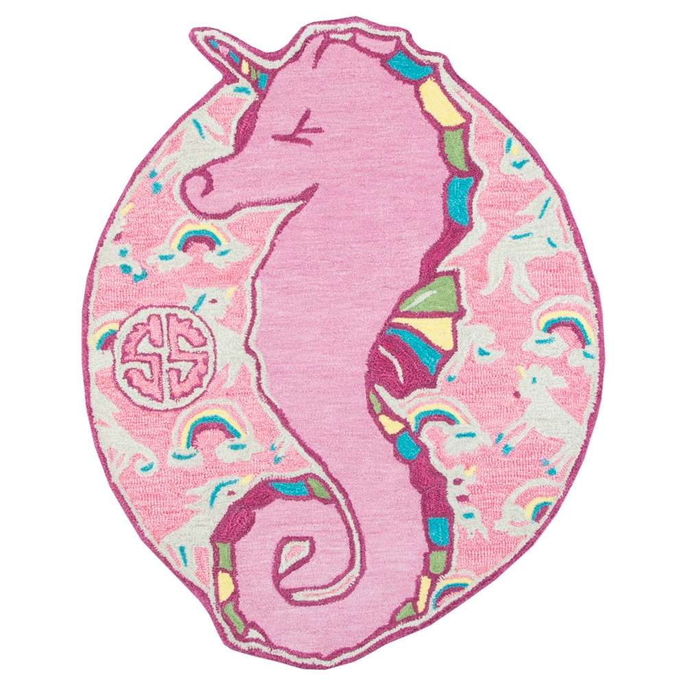 "Image of ""2'6""""X3'4"""" Tufted Seahorses Oval Accent Rug Pink - Rizzy Home"""