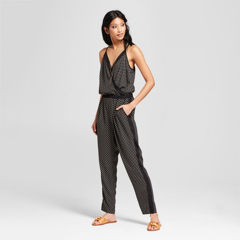 Womens Polka Dot Sleeveless Jumpsuit With Tuxedo Stripe 201