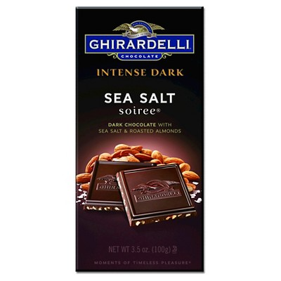 Ghirardelli Intense Dark Chocolate w/ Sea Salt and Roasted Almond Squares - 3.5oz