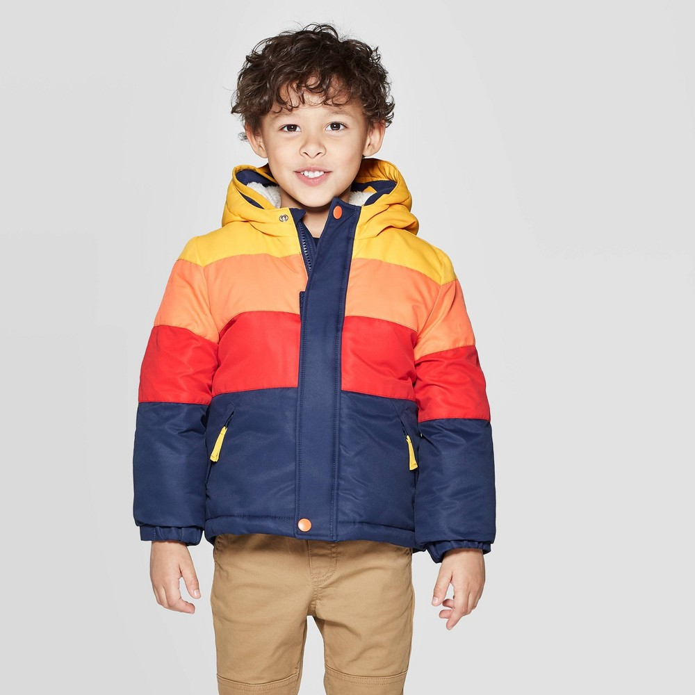 Image of Toddler Boys' Pieced Tech Fashion Jacket with built in Mittens - Cat & Jack Pink 4T, Boy's, Orange Yellow Blue