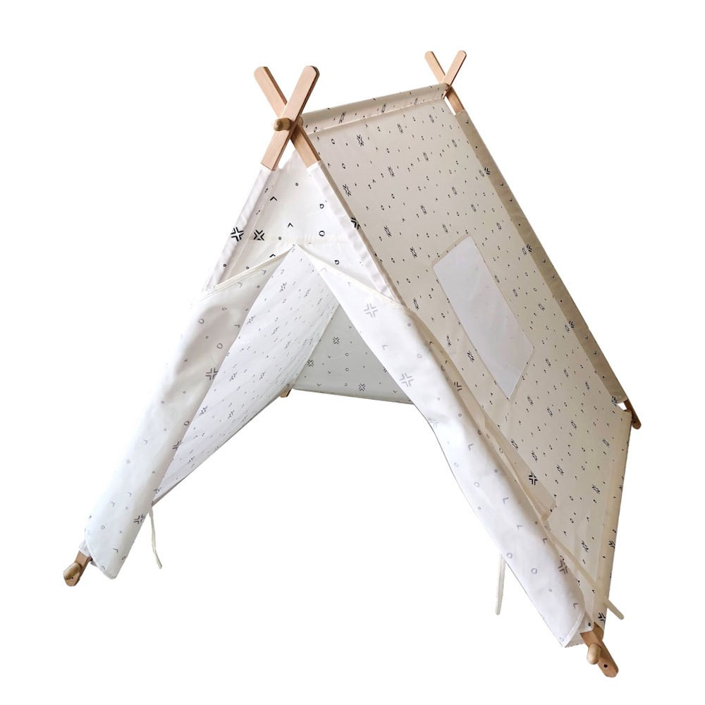 Image of Kids Play Tent Mudcloth Pattern White And Black - Tnee's Tpees