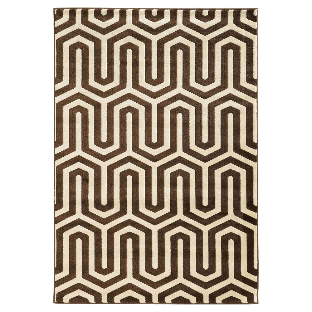 Roma ZigZag Accent Rug - Ivory / Chocolate (2' X 3'), Ivory/Brown