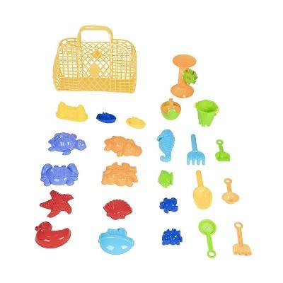 25-Pack Kids Beach Toys Sand Toys Sandbox Play Set w/ Bucket Shovel Basket