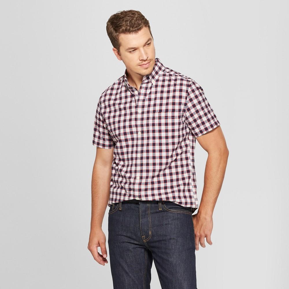 Men's Plaid Short Sleeve Poplin Button-Down Shirt - Goodfellow & Co Brigadier Navy S, Purple