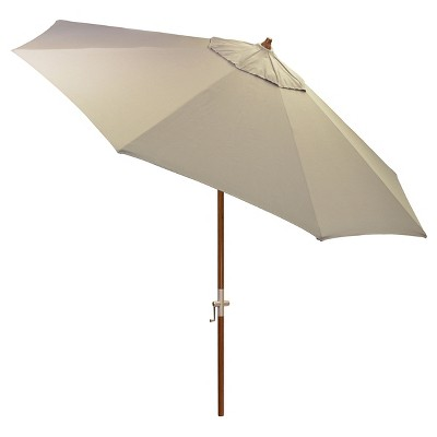 8.9' x 8.9' Round Sunbrella® Umbrella - Canvas Taupe - Medium Wood Finish - Smith & Hawken™