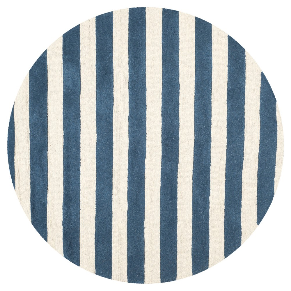 6' Stripe Area Rug Navy/Ivory (Blue/Ivory) - Safavieh