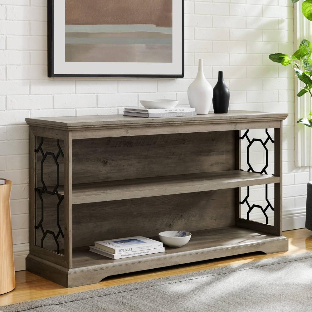 """28"""" Oxford Ornate Metal Side Bookshelf Gray Wash - Saracina Home"""