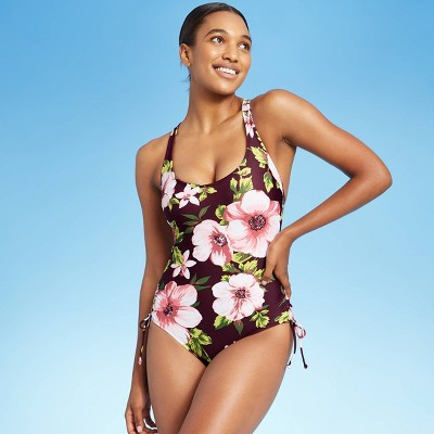 Women's Side-Cinch Classic One Piece Swimsuit - Kona Sol™ Burgundy Floral Print