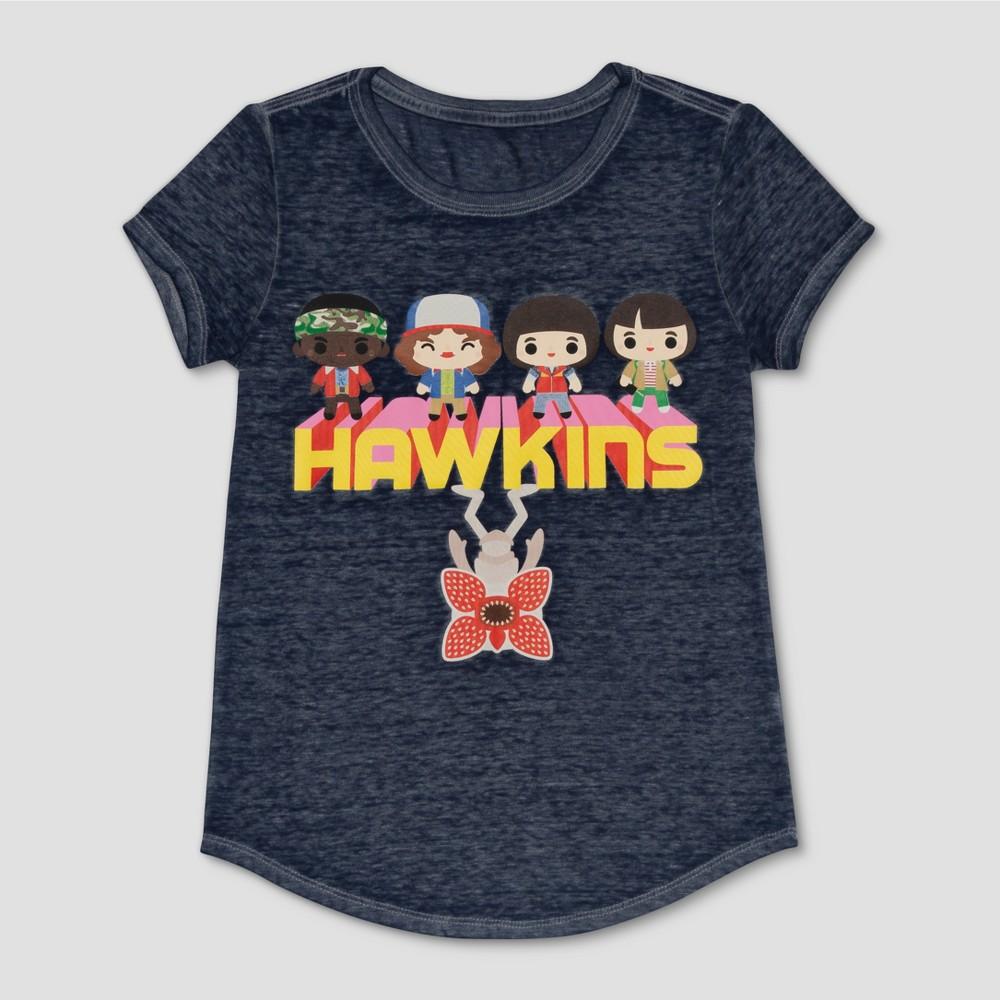 Girls' Stranger Things Hawkins Short Sleeve T-Shirt - Blue S