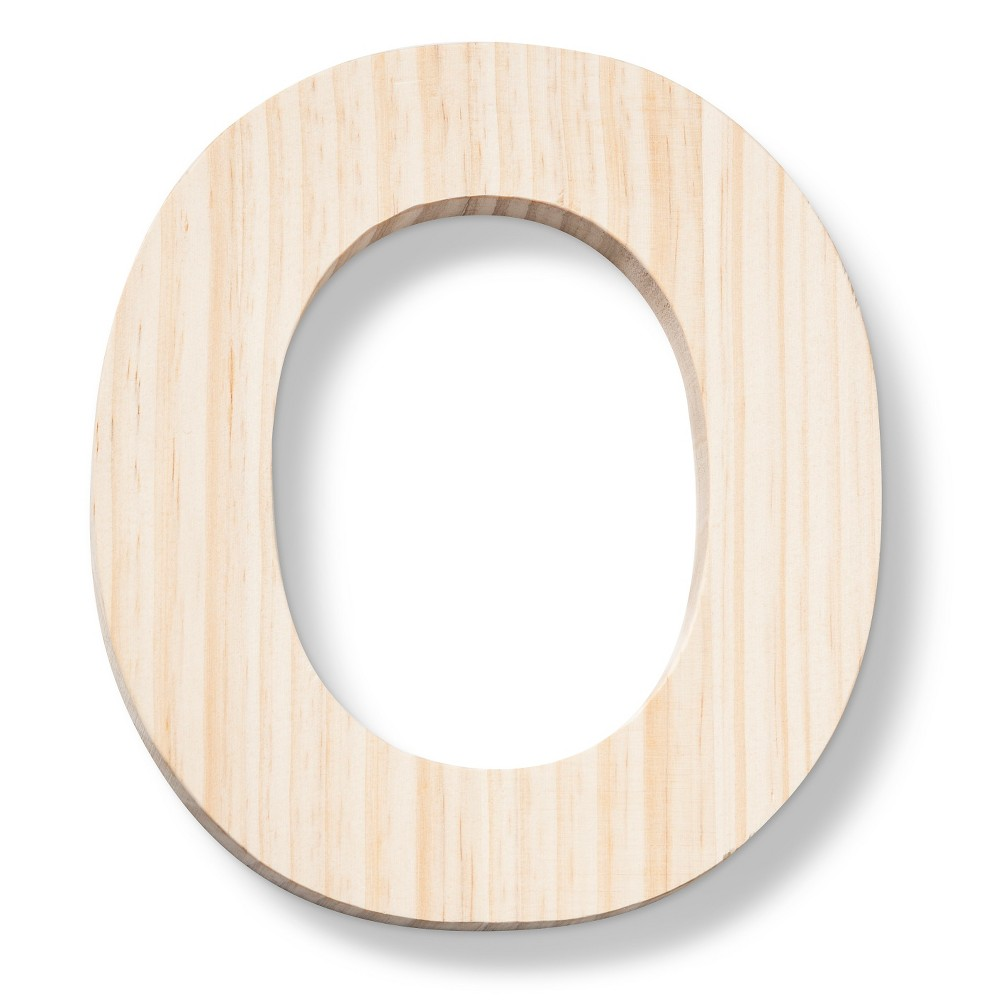 Hand Made Modern - Wood Letter Large - O, Neutral
