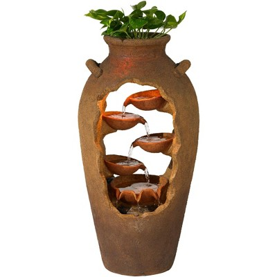 "John Timberland Rustic Outdoor Floor Water Fountain with Light 33"" High Cascading Planter Urn for Yard Garden Patio Deck"