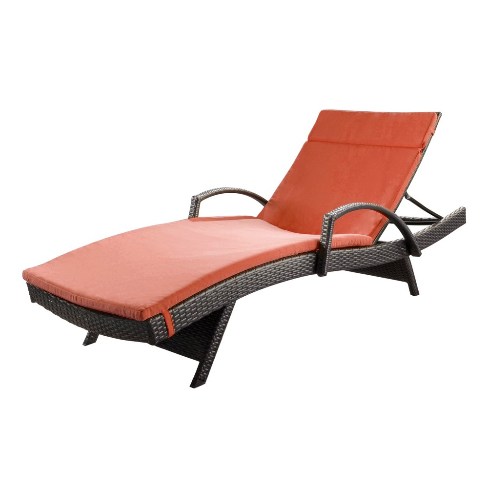 Salem Brown Wicker Adjustable Chaise Lounge with Arms - Orange - Christopher Knight Home