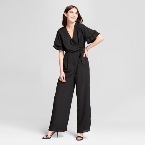 5eea7f310ab Women s Ruffle Sleeve Wrap Tie Jumpsuit - clair Black   Target