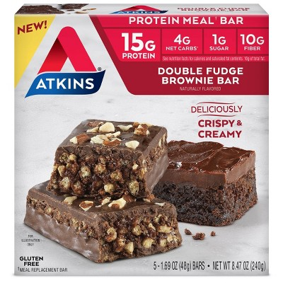 Atkins Protein Bar Meal - Double Fudge Brownie - 5pk