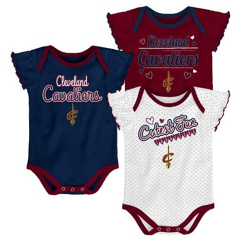 NBA Cleveland Cavaliers Girls' Draft Pick 3pk Body Suit Set - image 1 of 4