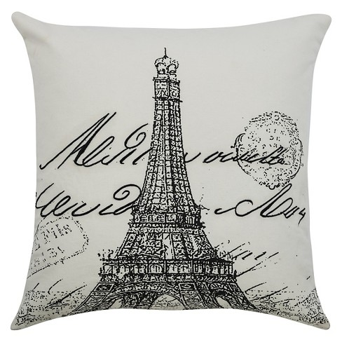 "Off White Eiffel Tower Throw Pillow (20""x20"") - Rizzy Home - image 1 of 1"
