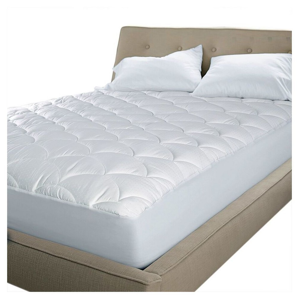 Damask Dual Action Stain & Water Repel Mattress Pad (Queen) White - Blue Ridge Home Fashions
