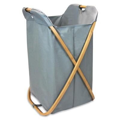 Oceanstar Bamboo Folding X-Frame Laundry Hamper Sorter