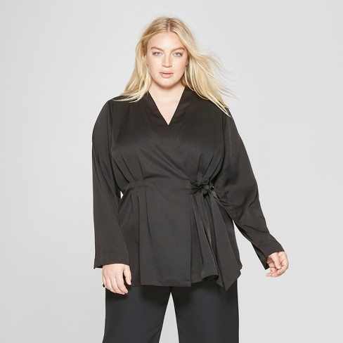 Women's Plus Size Wrap Jacket with Side Tie - Prologue™ Black - image 1 of 3