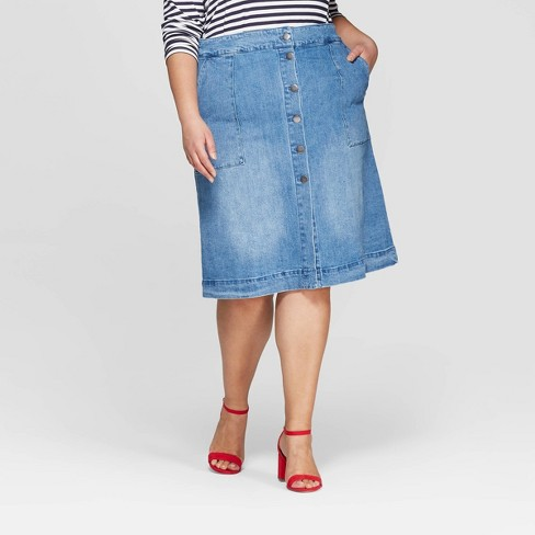 18bc3d58d5bc Women's Plus Size Button Front Denim Skirt - Ava & Viv™ Medium Wash ...