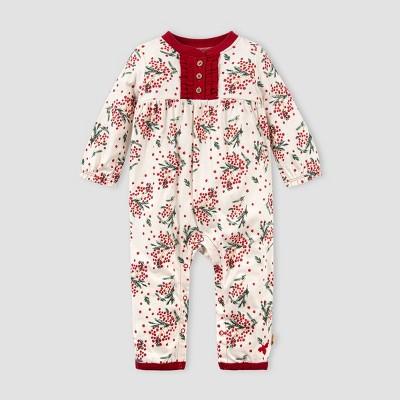 Burt's Bees Baby® Baby Girls' Organic Cotton Berry and Bright Jumpsuit - White 9M