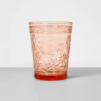 16oz Plastic Floral Embossed Short Tumbler Pink - Opalhouse™