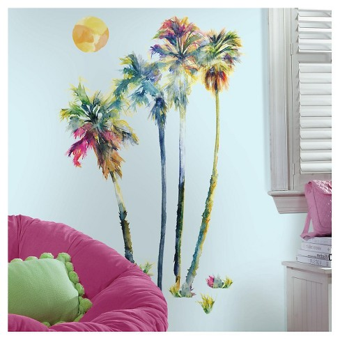 Roommates Watercolor Palm Trees L And Stick Giant Wall Decals