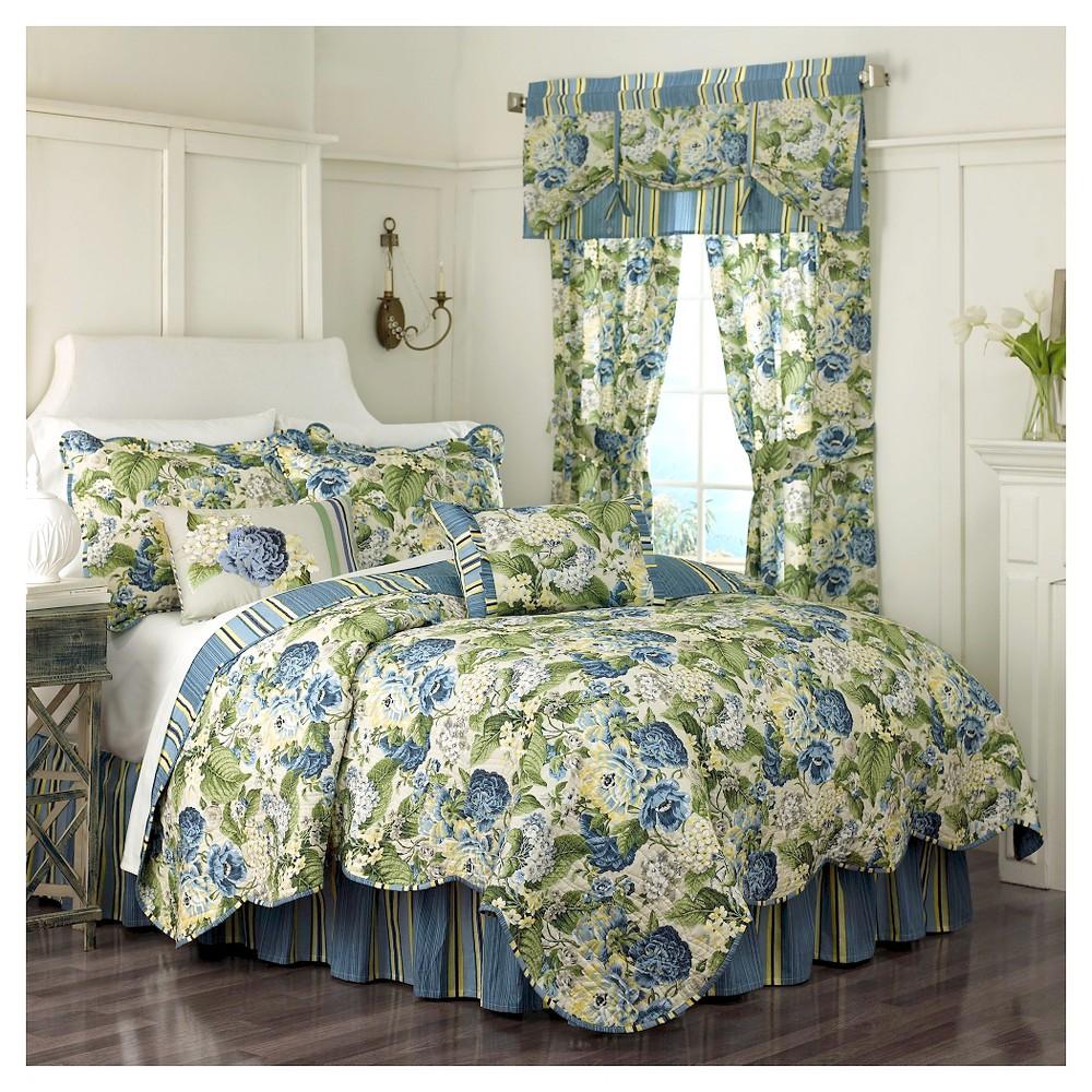 Waverly Floral Flourish 4 Piece Quilt Set - Blue/Green (King)