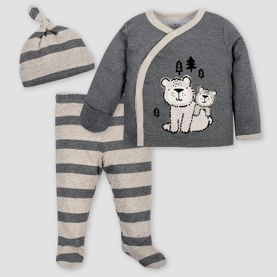 Gerber Baby Boys' 3pc Bear Top & Bottom Set with Cap - Gray/Light Brown 3-6M