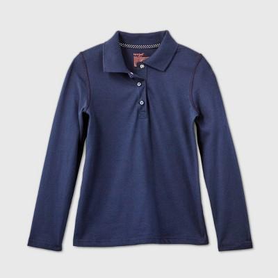 Girls' Adaptive Long Sleeve Polo Shirt - Cat & Jack™ Navy