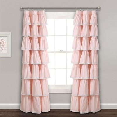"52""x84"" Ruffle Window Curtain Panel Blush - Lush Décor"