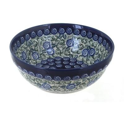 Blue Rose Polish Pottery Seaside Swirl Cereal/Soup Bowl