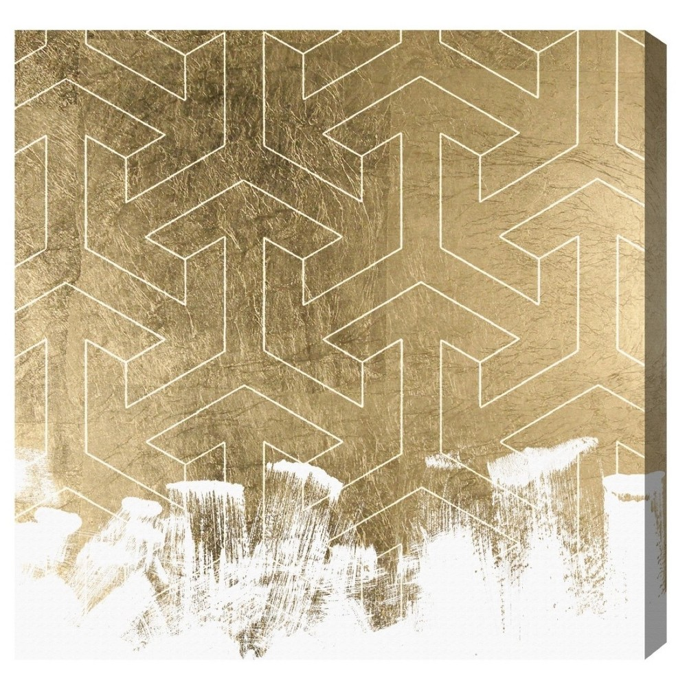 "Image of ""Oliver Gal Unframed Wall """"Trebal"""" Canvas Art (20x20), Gold White"""