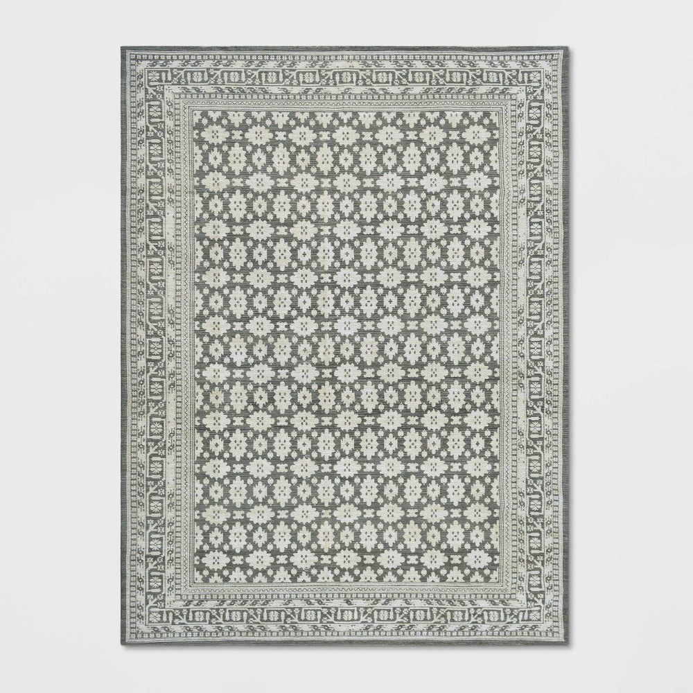 9'X12' Indoor/Outdoor Floral Woven Area Rug Gray - Threshold