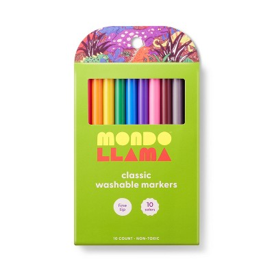 10ct Washable Markers Fine Tip Classic Colors - Mondo Llama™