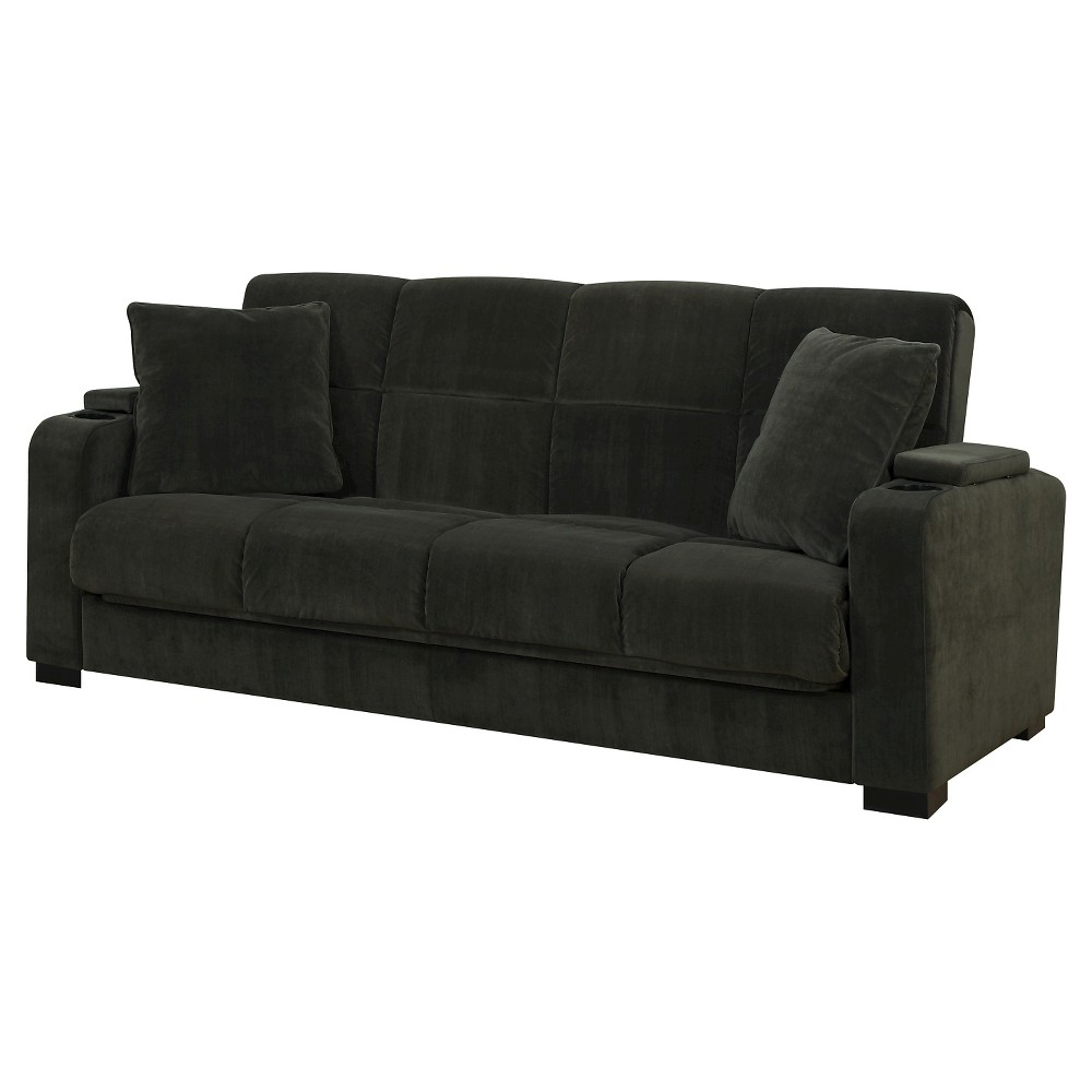 Image of Susan Storage Arm Convert-a-Couch - Gray Velvet - Handy Living