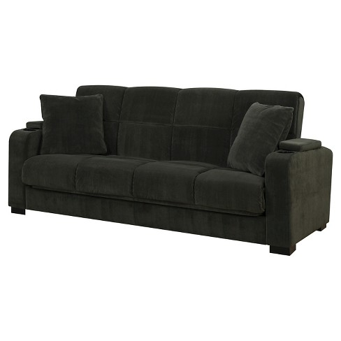 Susan Velvet Convert-a-Couch Storage Arm Futon Sofa Sleeper -  Handy Living - image 1 of 6