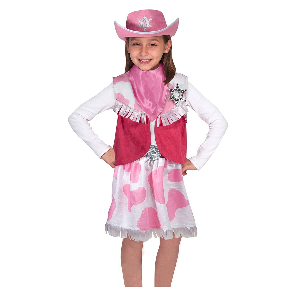 Melissa & Doug Cowgirl Role Play Costume Set (5pcs) - Skirt, Hat, Vest, Badge, Scarf