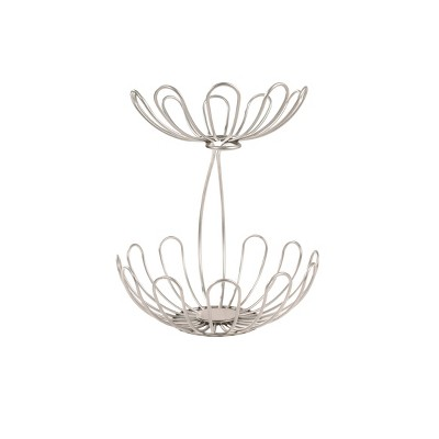 Spectrum Bloom Arched 2-Tier Steel Fruit Server - Satin Nickel