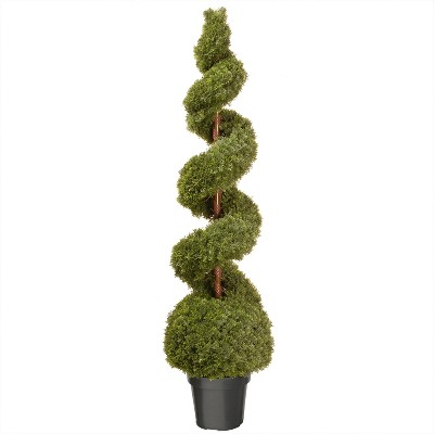 National Tree Company Indoor & Outdoor Plastic Spiral Faux Plant Bush Artificial Cedar Topiary Tree with Grow Pot Base & Center Pole, 60 Inches Tall