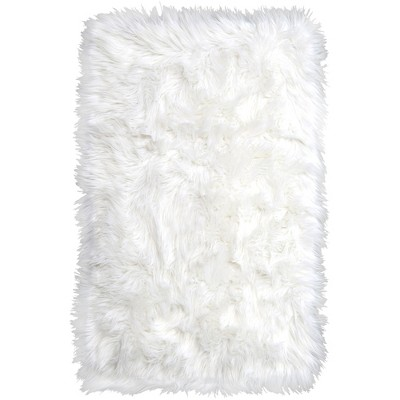 Elle Kids 1'11'x2'11  Arctic Shag Accent Rug Ivory - Home Dynamix