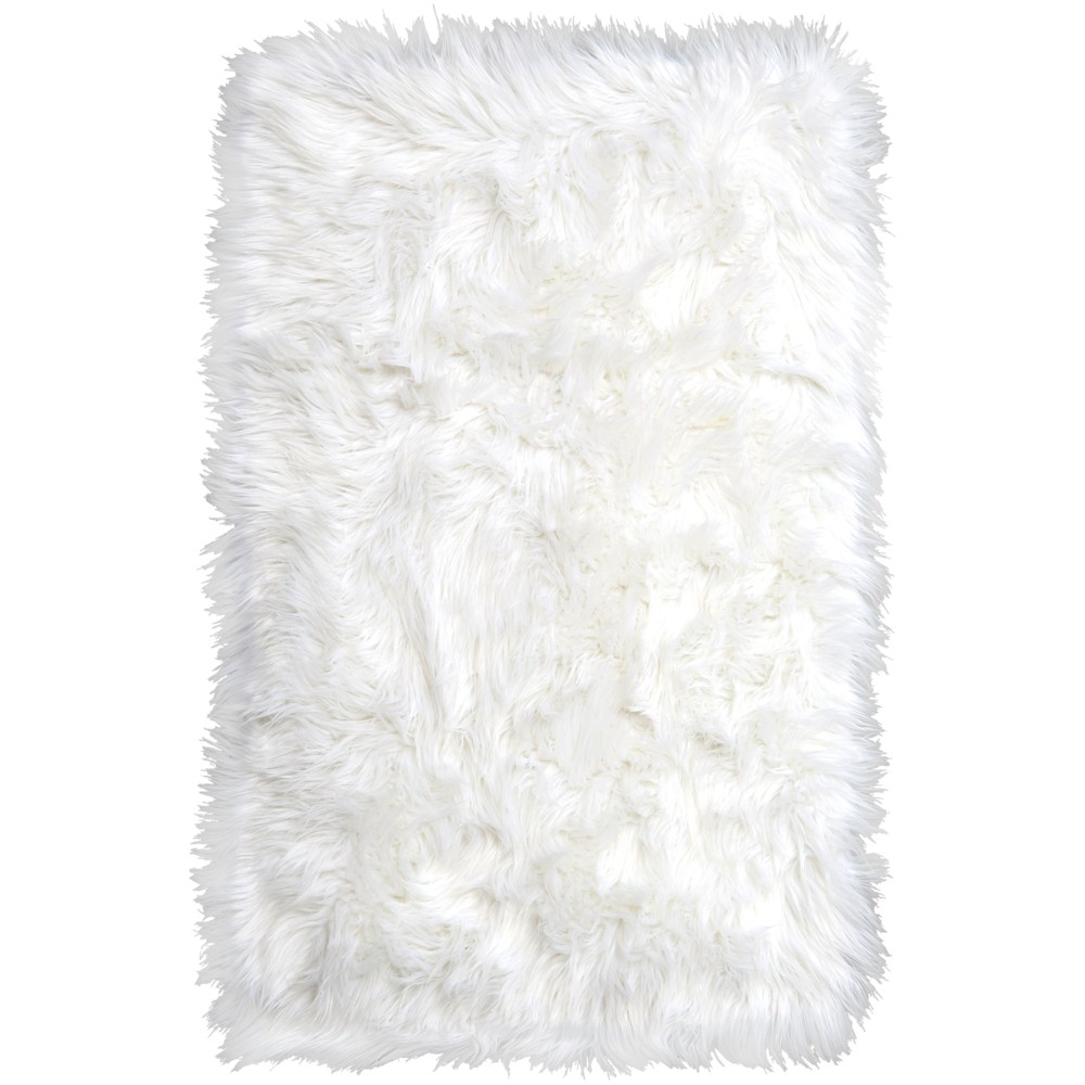 Image of Elle Kids 1'11'x2'11 Arctic Shag Accent Rug Ivory - Home Dynamix