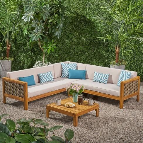 Wicker Sectional Sofa Set Teak Beige, Patio Furniture 3 Piece Sectional Sofa Resin Wicker Beige
