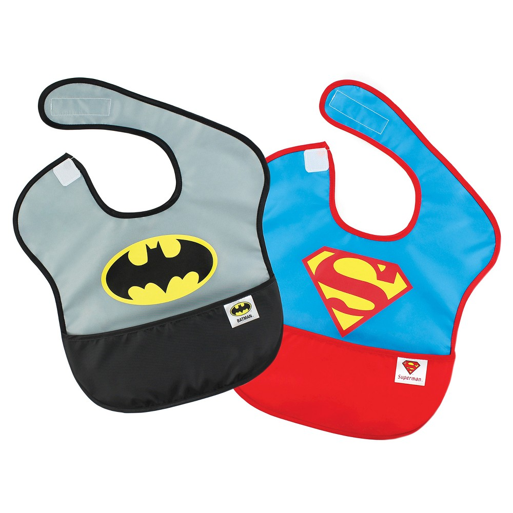 Image of Bumkins DC Comics Batman and Superman Waterproof SuperBib 2pk