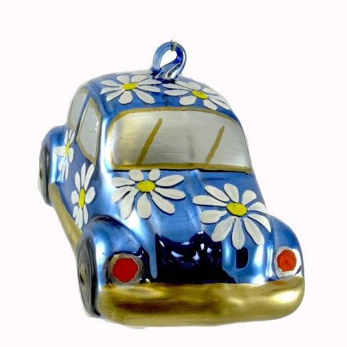 Laved Italian Ornaments Volkswagon Bug With Daisies Flower Power  -  Tree Ornaments - image 1 of 2