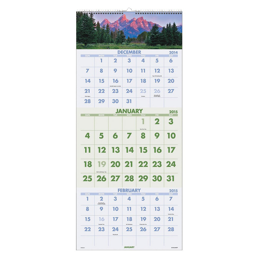 At-A-Glance Scenic Three-Month Wall Calendar, 12 x 27, 2016-2018, White/Multi-Colored