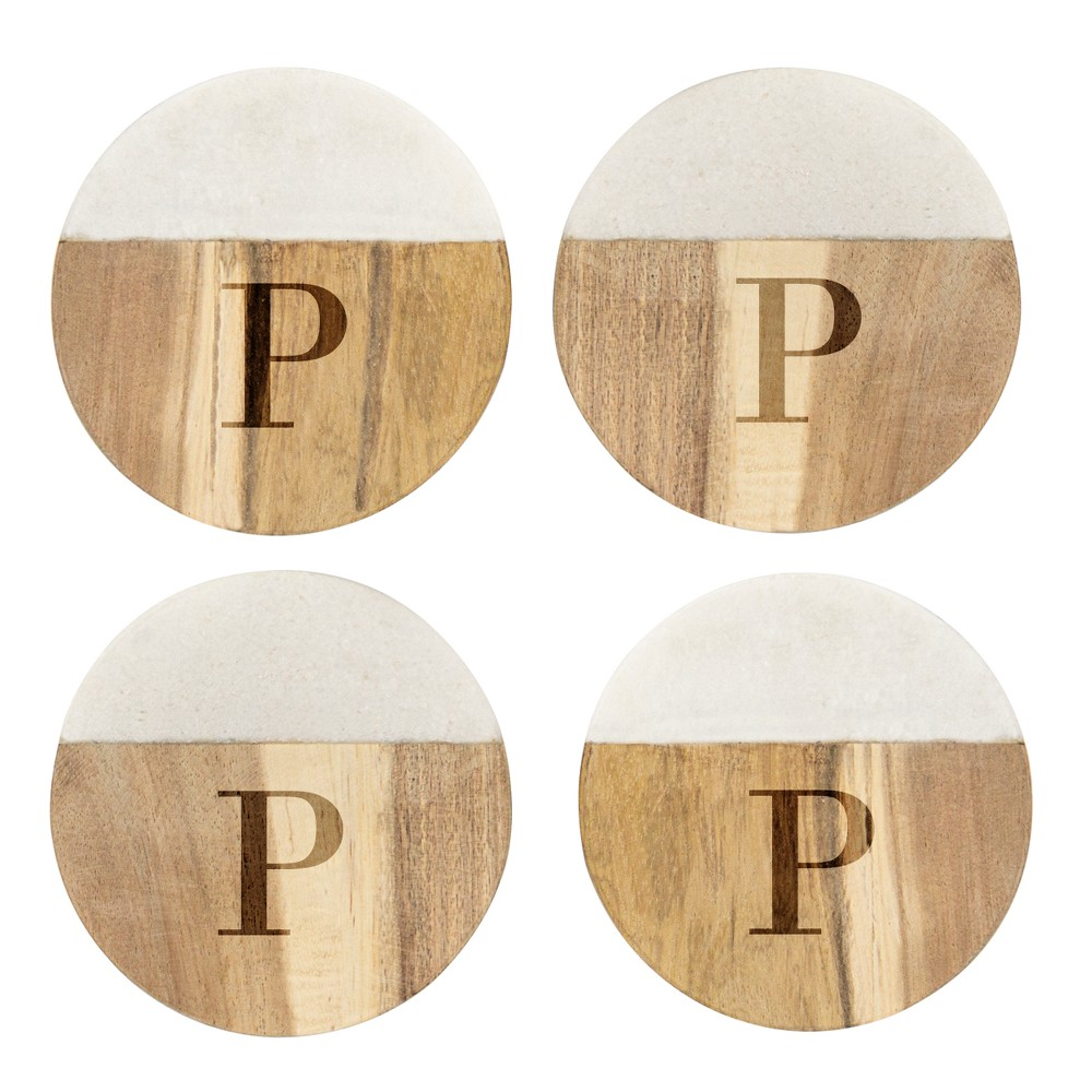 Cathy's Concepts Monogram Acacia and Marble Coasters P - Set of 4, Brown White