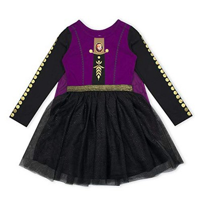 Disney Frozen II Girl's Anna Long Sleeve Princess Dress Up Outfit with Cape - Violet/Black, Size 5