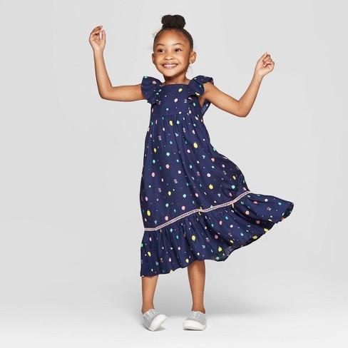 503a558ad Toddler Girls' Challis Maxi Dress - Cat & Jack™ Navy : Target