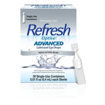 Refresh Optive Advanced Preservative Free Lubricant Eye Drops - 30ct